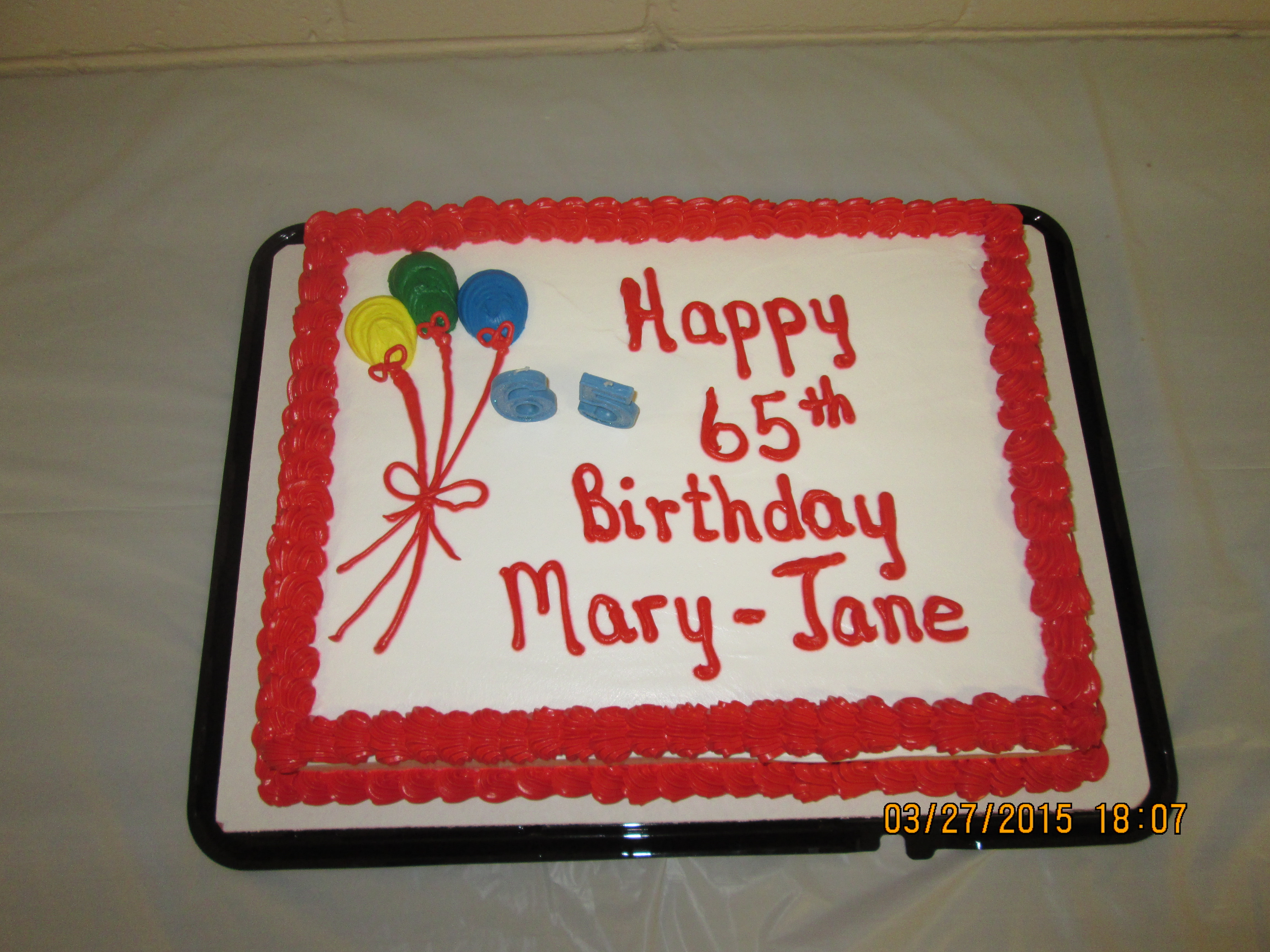 Best Wishes To Mary Jane Goodchild Celebrating Her 65th Birthday On